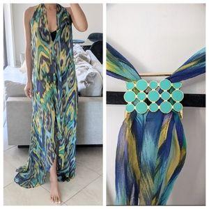 SHOSHANNA Silk Halter Beach Maxi High Low Dress